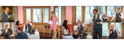 Wedding reception toasts at Wild Basin Lodge