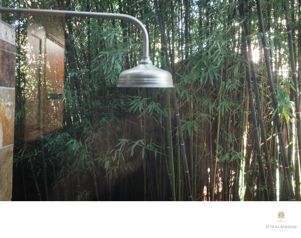 The outdoor shower at the Zen Garden House in Berkeley
