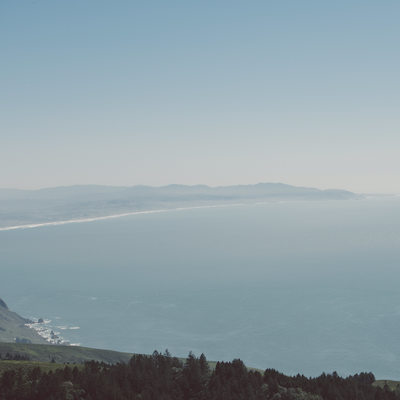 The Pacific Ocean and land south of San Francisco