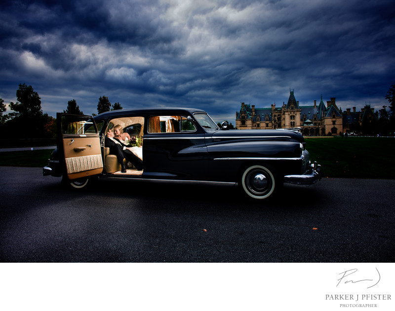 Biltmore Estate Vintage Car Wedding Photography