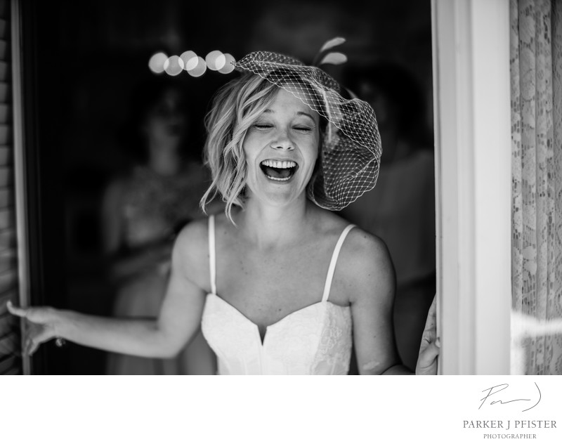 Black and White Destination Wedding Bridal Portraits