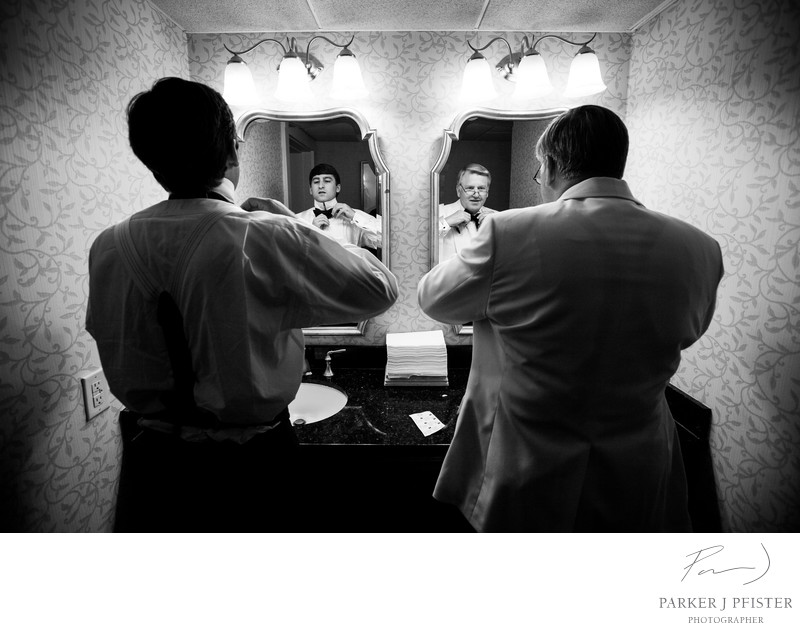Charleston SC Groom and Father Portrait Black and White