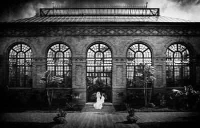 Biltmore Conservatory Black and White Wedding Photos