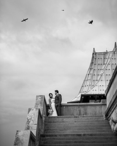 Biltmore Estate Terrace Black and White Wedding Photos