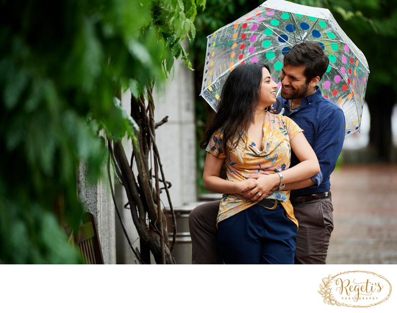 South Asian Couple's Engagement Photo in Rain