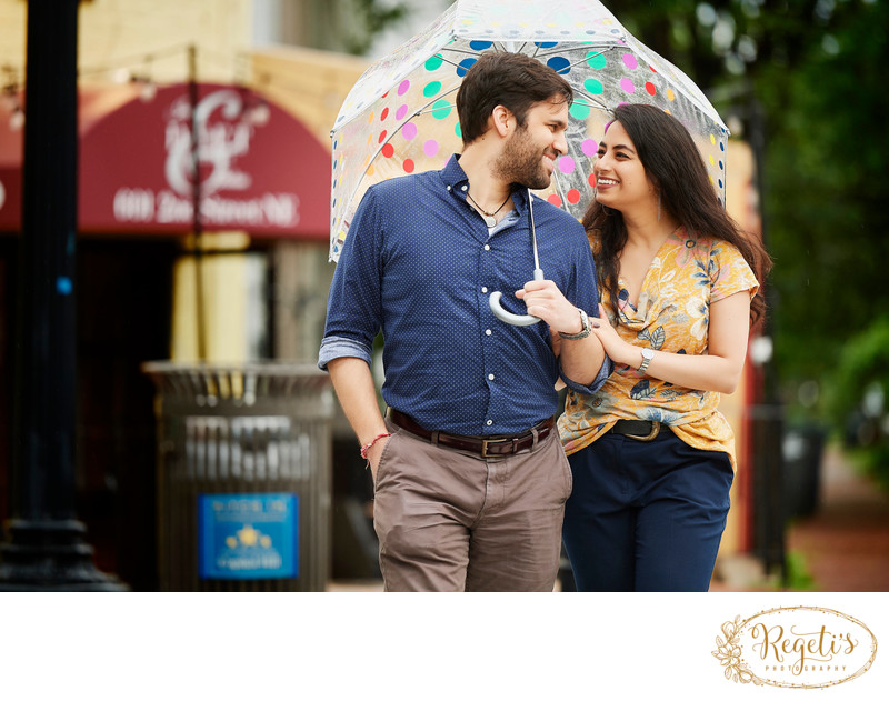 Engagement Session in Rain with an Umbrella