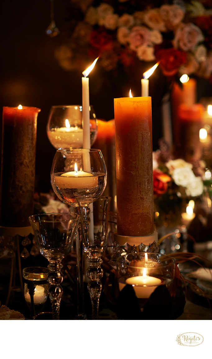 Centerpieces & Candles at a Reception