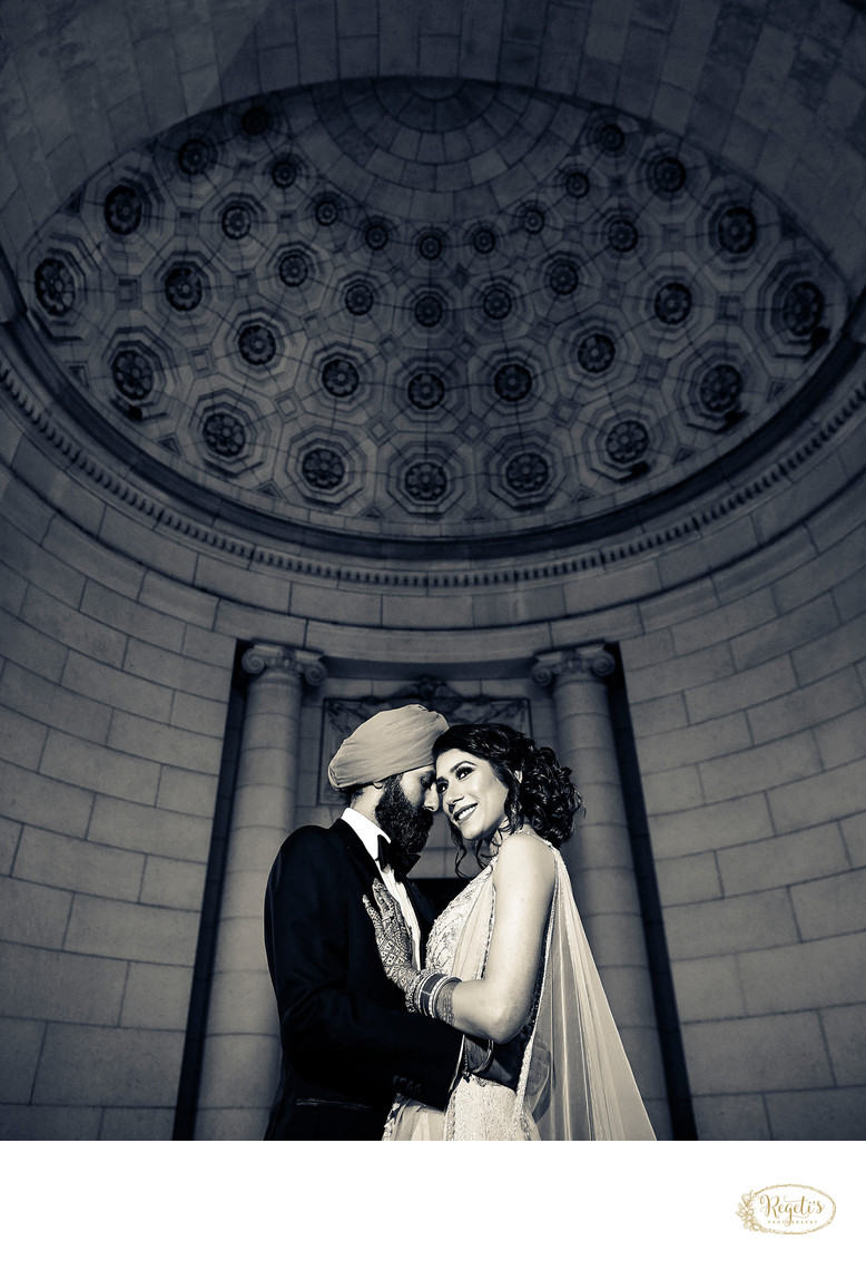 Sikh Bride and Groom Portraits at Union Stattion