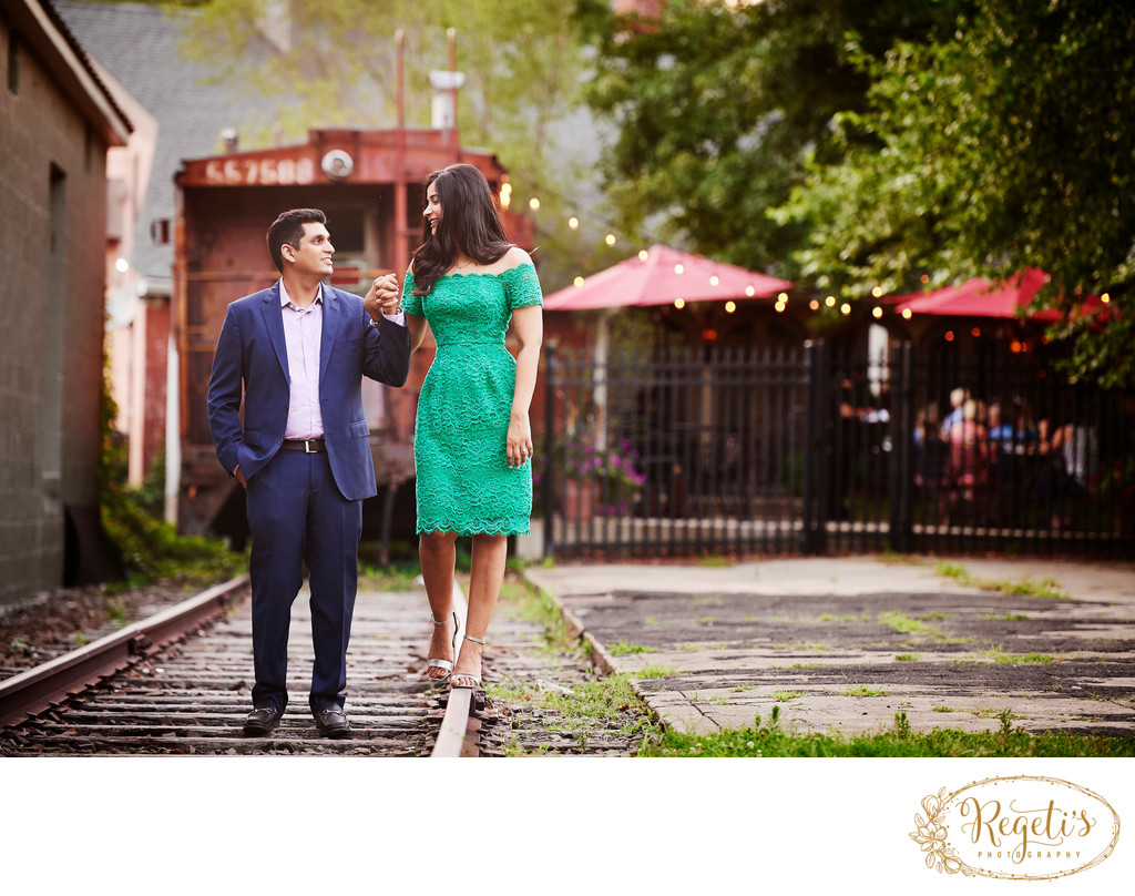 Engagement Session of South Asian Couple in Old Town Warrenton