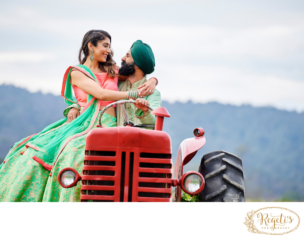 Punjabi Engagement Photo Session on a tractor located on the outskirts of  Northern Virginia
