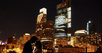 Bride & Groom, Rooftop of the Benjamin Franklin Museum