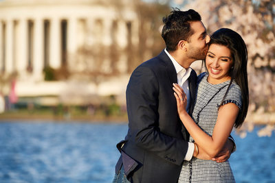 Cherry Blossom Engagement Session, Jefferson Memorial