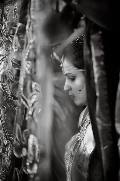 Indian Telugu bride behind a veil