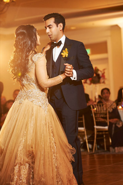 Indian Bride and Groom's First Dance at Wedding Reception