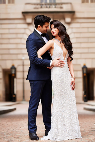 South Asian Bride and Groom at Andrew Mellon Auditorium in DC