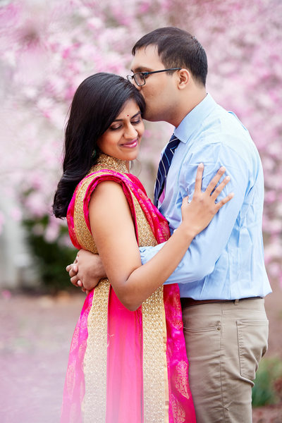South Asian Bride and Groom during Cherry Blossoms, DC