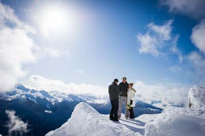 Mountain top elopement photography in Whistler, BC