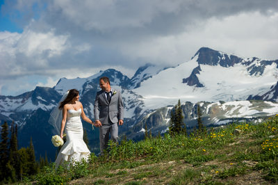 Summer hiking wedding photos on Whistler Mountain