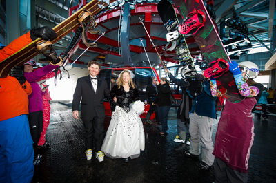 Peak to Peak Gondola ski wedding at Whistler Blackcomb