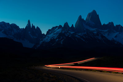 Fine art photography of El Chalten's highway 23 at dusk
