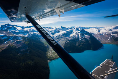 Commercial aviation photography of a scenic flight