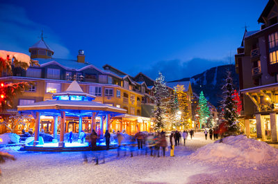 Stock photo of a winter wonderland in Whistler Village