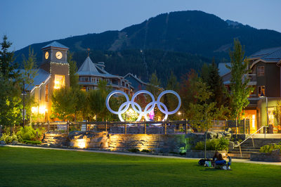 Stock photo of Whistler Olympic Plaza in summer at dusk