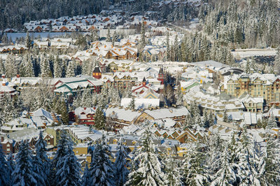 Stock photo of Whistler village blanketed in fresh snow