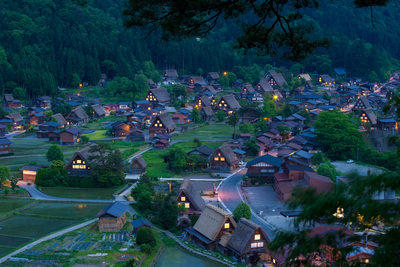 Shirakawa-go, Japan at dusk - Stock Photo