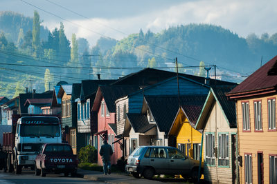 Stock photo of city life in Castro, Chiloe, Chile