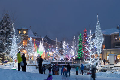 Stock photo of Whistler village at Christmas