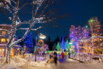 Whistler festive lighting stock photo