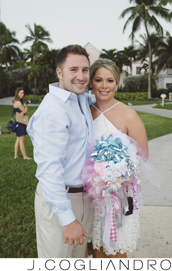 Bride and Groom at the Rehearsal Dinner in The Bahamas