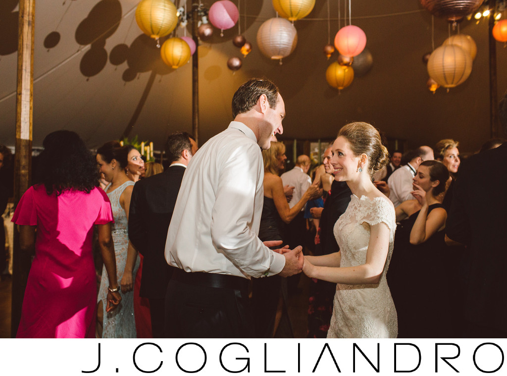 Bride and Groom Pause Wedding Reception Photography