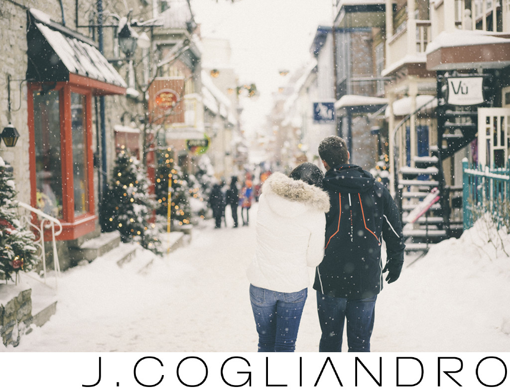 Snowy Quebec Engagement Best Destination Photography