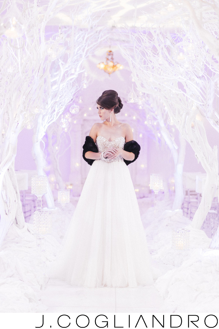 Bride in Winter Wonderland at Chateau Cocomar