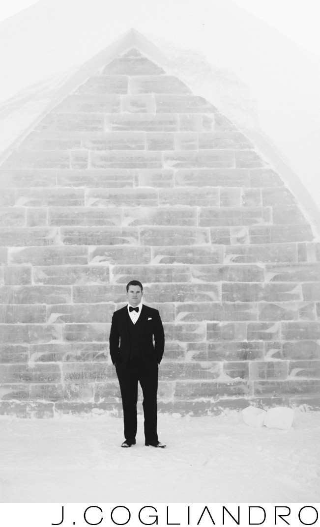Groom Portrait at Ice Hotel in Quebec