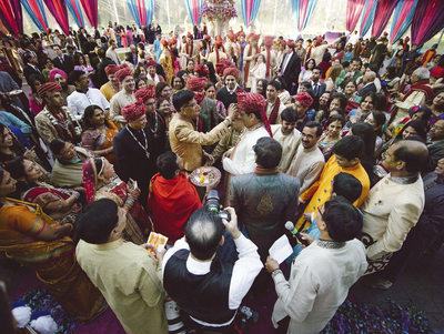 Gathered Guests at Chateau Cocomar Indian Wedding