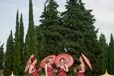 Parasol Clad Bridesmaids at a Wedding in Florence Italy