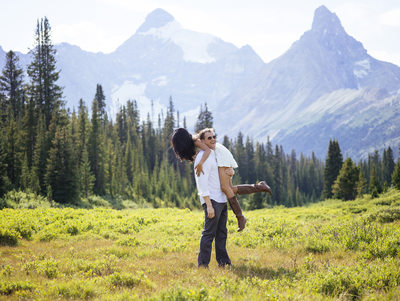 Playful Couple Engaged at Banff National Park in Canada