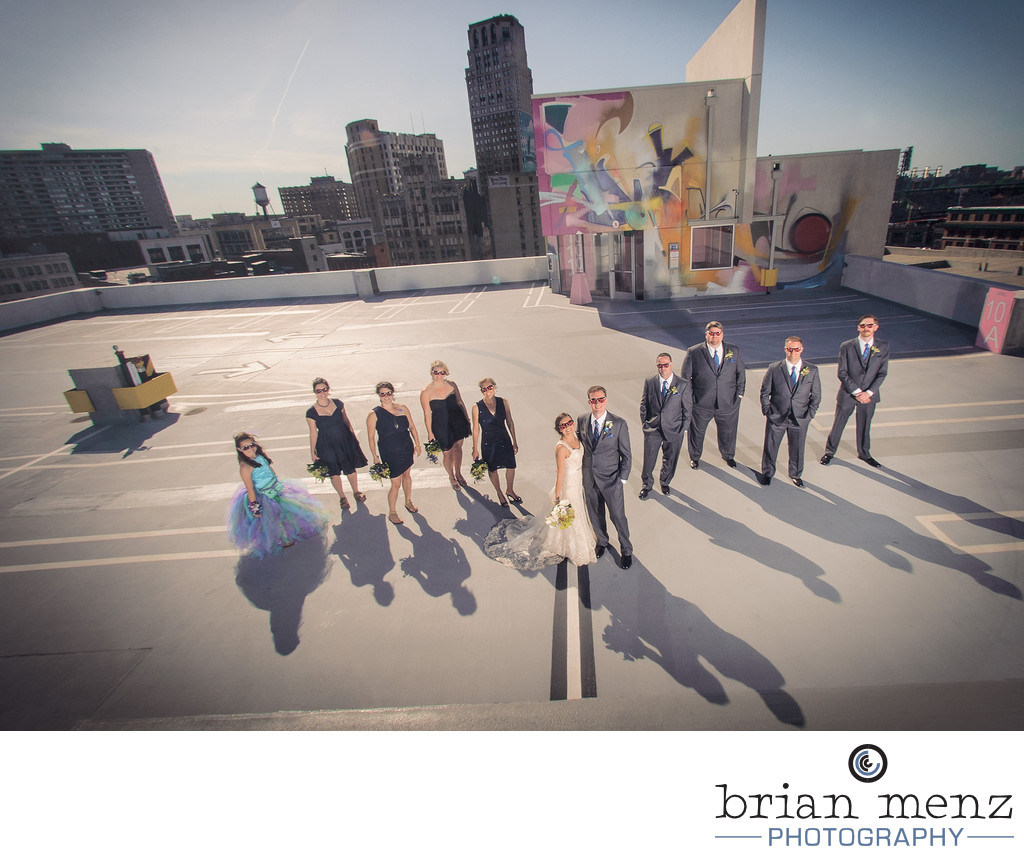 group photo z lot detroit wedding photographer
