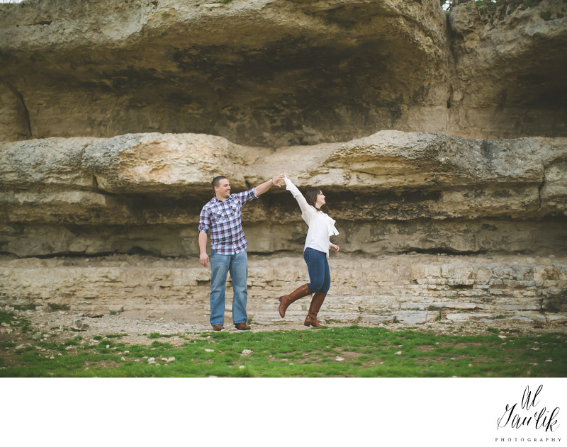 Texas Engagement Dance Under the Rocks