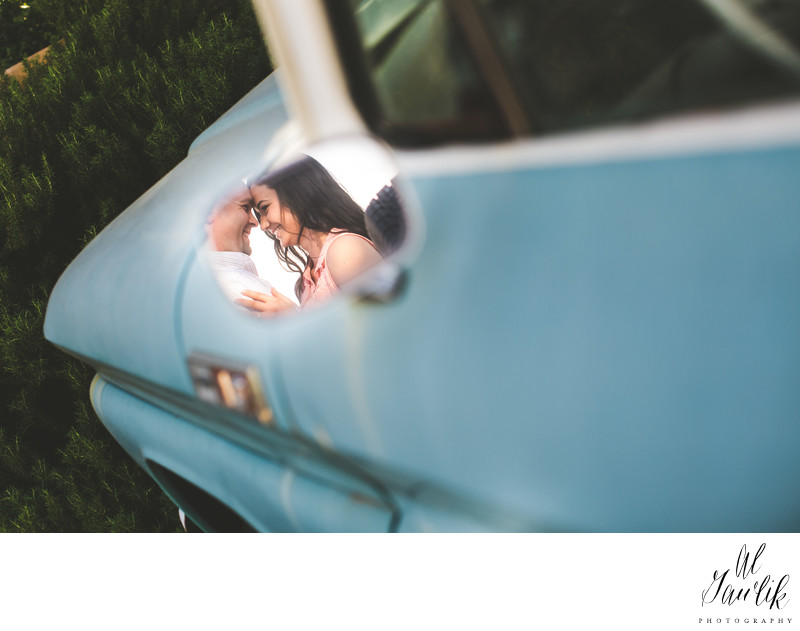 Texas Engagement Photographer Rear View Mirror Moment