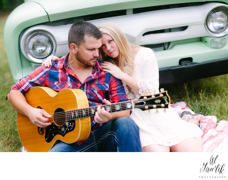 Texas Engagement Photographer Guitar and Love