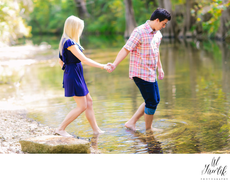 Texas Engagement Photograph Barefoot in Stream