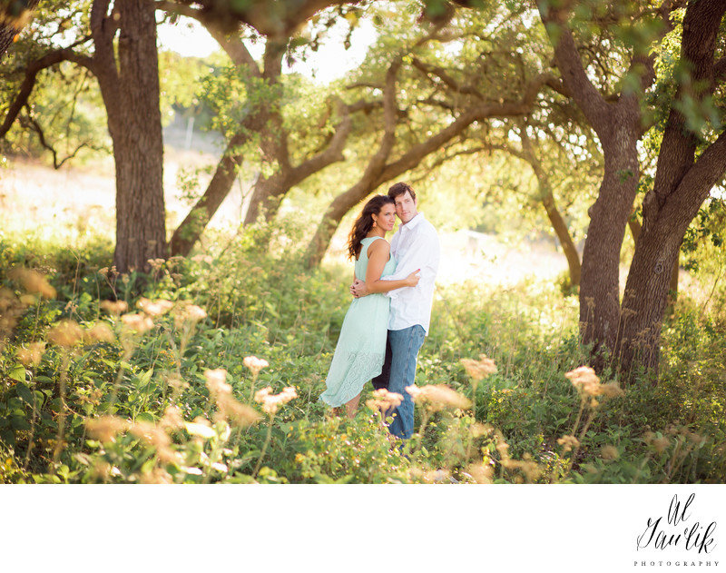 Texas Engagement Photography Trees Flowers and