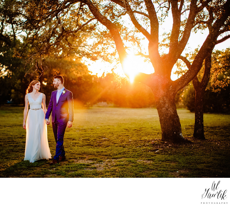 Sunset Couple Heading To Their Reception To Celebrate