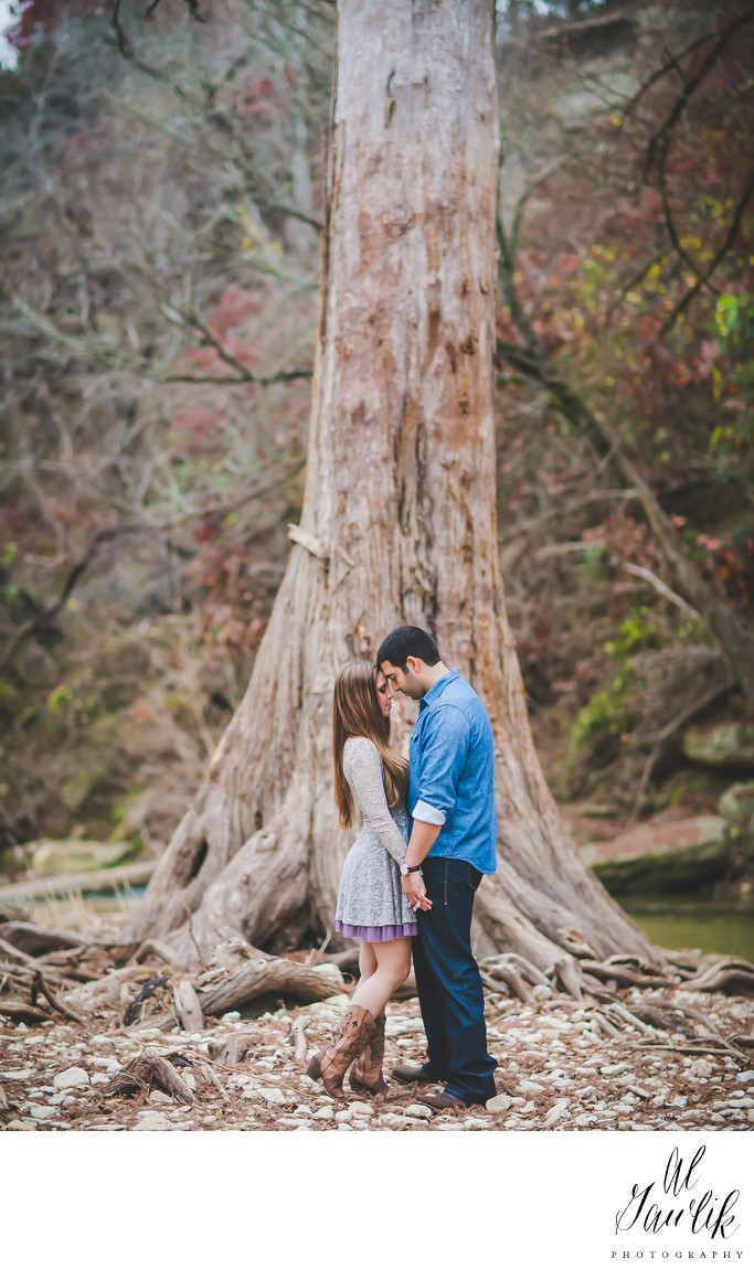 Engagement Photo under tall and ancient tree