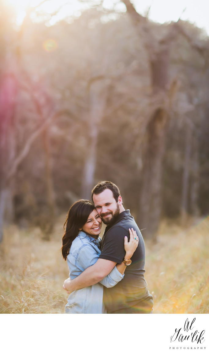 Texas Engagement Couple Wrap Arms