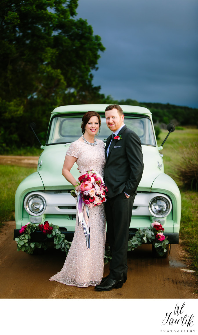 Pickup Truck, Flowers, Bride and Groom